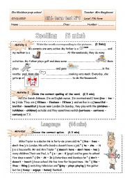 English Worksheet: mid-term test1   7thformers