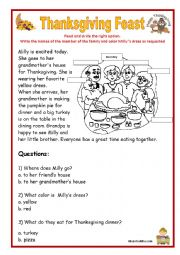 thanksgiving reading and comprehension