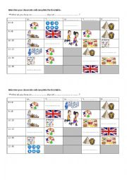 time and timetable pairwork