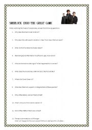SHERLOCK TV SERIES - THE GREAT GAME (Moviesheet with key)
