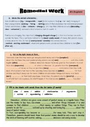 English Worksheet: remedial work 9th formers