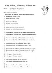 English Worksheet: Who, Whom, Whoever, Whomever