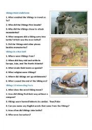 English Worksheet: Vikings: History and Facts Video Questions