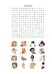 English Worksheet: body picture wordsearch
