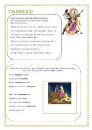 English Worksheet: MOVIE TANGLED ACTIVITY