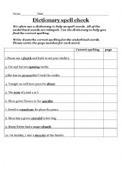 english worksheets dictionary spell check. Black Bedroom Furniture Sets. Home Design Ideas