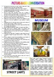 Picture-based conversation : topic 97 - Street (Art) vs Museum.