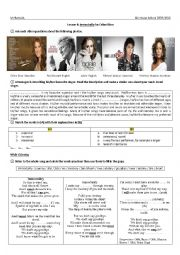 English Worksheet: 4th year: Lesson 4: Immortality by Celine Dion