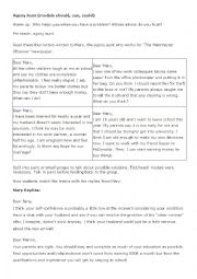 English Worksheet: agony aunt modals practice