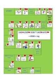 English Worksheet: Like, love, hate + verb+ ing