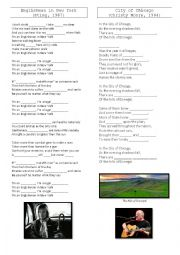 English Worksheet: Englishman in New York / City of Chicago