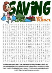English Worksheet: Wordsearch Series 5-Saving the planet wordsearch and other vocabulary exercises