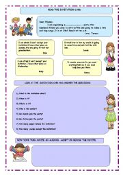 English Worksheet: invitation cards and accepting/refusing