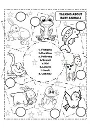 English Worksheet: Talking About Baby Animals