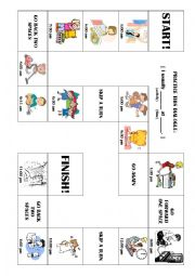 English Worksheet: Exciting Board Game! `I Usually... at...` Daily Schedule!