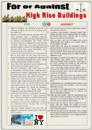 English Worksheet: For or against high-rise buildings (debating) + key