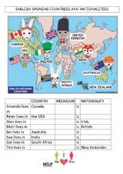 English Worksheet: English speaking countries and nationalities