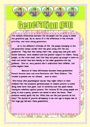 reading  comprehension :Generation gap
