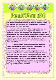 reading  comprehension :Generation gap