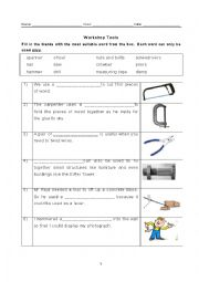 English Worksheet: Fill in the blanks: Workplace tools