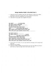 English Worksheet: Another Brick in the Wall