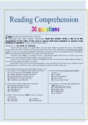 English Worksheet: Reading Comprehension Exercises 30 questions