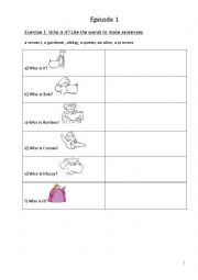 English Worksheet: Muzzy in Gondoland Part 1 Episode 1 Exercises black and white