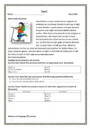 English Worksheet: daily activities