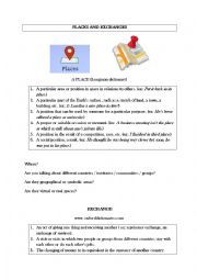 English Worksheet: Oral Presentation : Places and exchanges