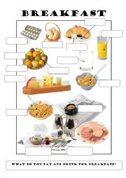 English Worksheet: What do you eat and drink for breakfast