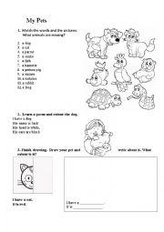English worksheet: My pets