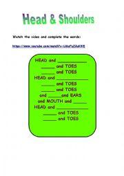 English Worksheet: HEAD & SHOULDERS