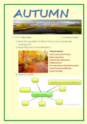 English Worksheet: Autumn: mind map, poem, brainstorming