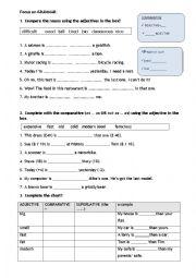 English Worksheet: Grammar revision: comparatives superlatives