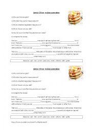 English Worksheet: Jamie Oliver makes pancakes