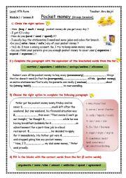 English Worksheet: Pocket money (group session)