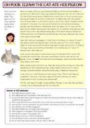 English Worksheet: Elena and her cat.