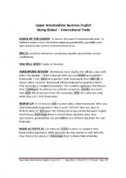 English Worksheet: INTERMEDIATE BUSINESS ENGLISH - GOING GLOBAL - LESSON 2 OF 2