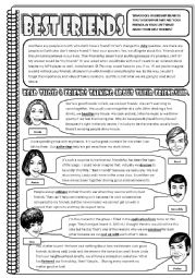 English Worksheets: BEST FRIENDS (reading comprehension) 3-page