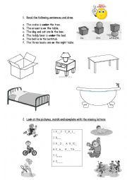 English Worksheet: can/cant. prepositions in on under, description of people and house