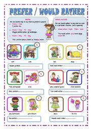 English Worksheet: PREFER/WOULD RATHER