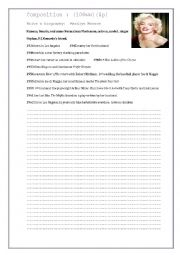 English Worksheet: Writing. A biography : Marilyn Monroe