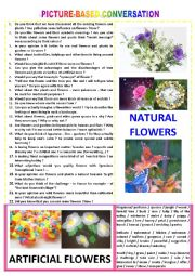 English Worksheet: Picture-based conversation : topic 84 - Natural flowers vs artificial ones.