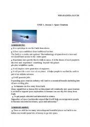 English Worksheet: SPACE TOURISM