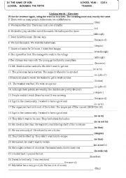 English Worksheet: linking words exercise