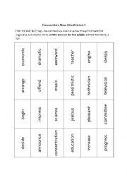 English Worksheet: Word Stress - Worksheet