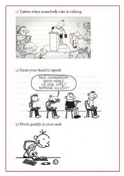English Worksheet: Classroom rules with a Diary of a Wimpy Kid