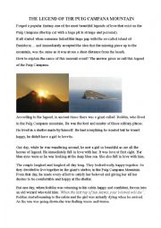 English Worksheet: The legend of the Puig Campana Mountain