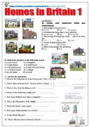English Worksheet: Homes in Britain 1  Listening + comprehension questions + video link.