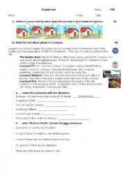 English Worksheet: Places in the city (Liverpool) and prepositions
